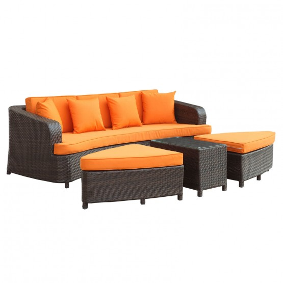 Monterey 4 Piece Outdoor Patio Sofa Set, Brown + Orange photo