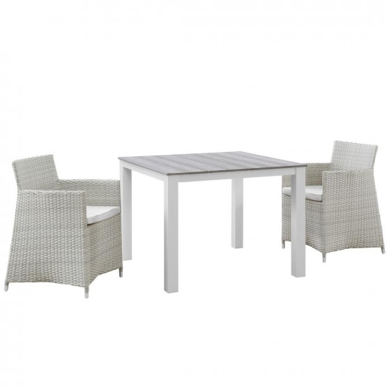 Junction 3 Piece Outdoor Patio Synthetic Rattan Weave Wicker Dining Set photo