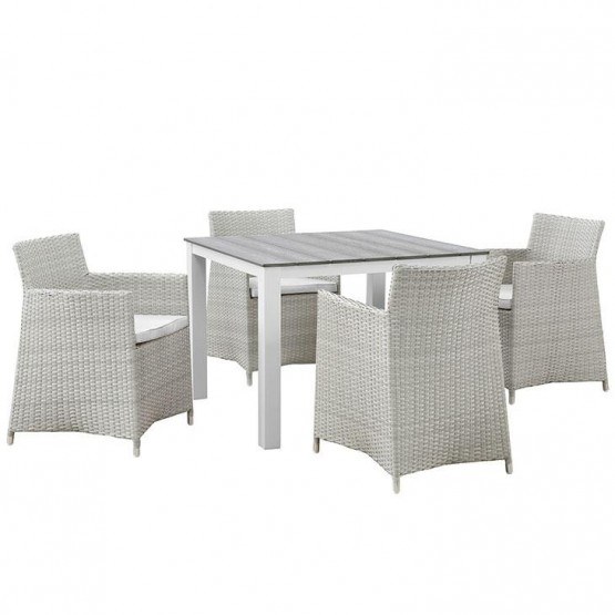 Junction 5 Piece Outdoor Patio Synthetic Rattan Weave Wicker Dining Set photo