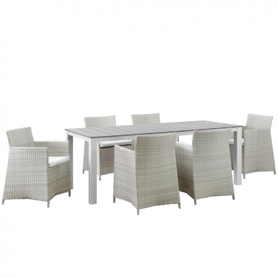 Junction 7 Piece Outdoor Patio Synthetic Rattan Wicker Dining Set photo