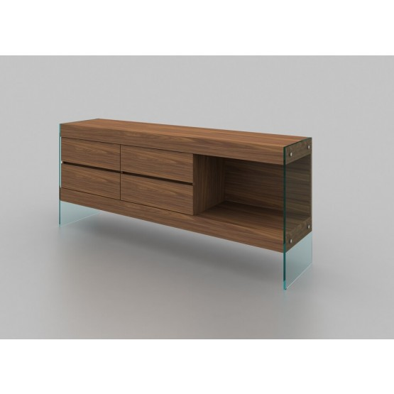 Elm Modern 4-Drawers Buffet with Open Shelf photo