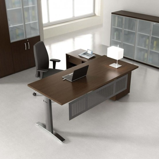 ERGONOMIC MASTER Office Desk w/Managerial Side Storage photo