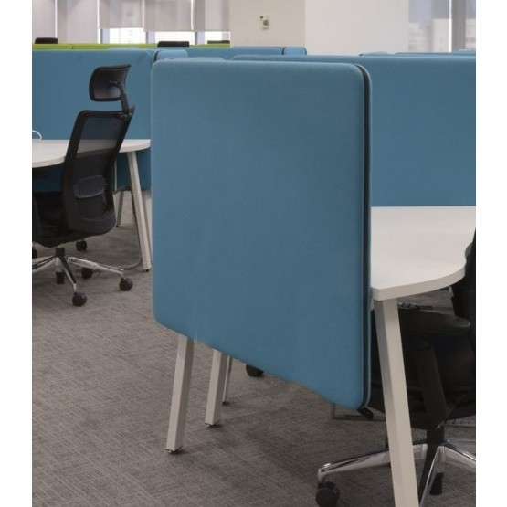 Twin Acoustic Fabric Side Screen for Single Desk photo