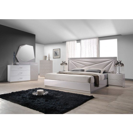 Florence Modern Leatherette Platform Bedroom Set photo