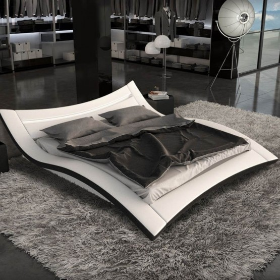 Marbella Ecoleather Modern Bed with Lighting photo