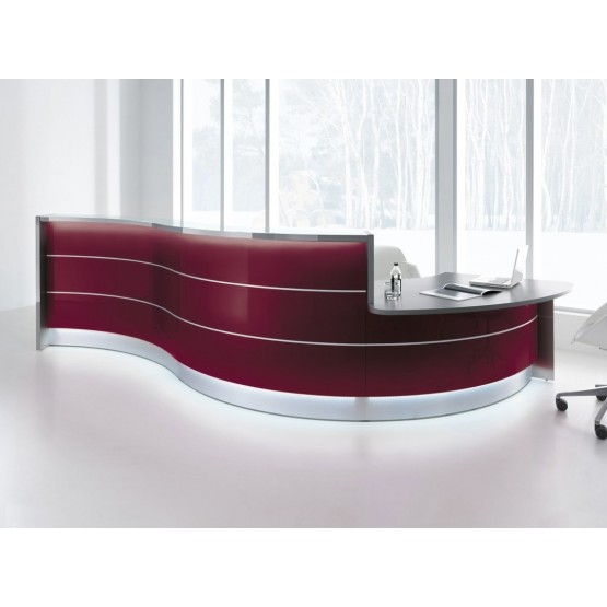 VALDE Curved Reception Desk w/Counter Top & LED Light photo