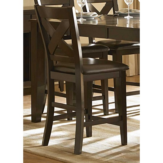 Crown Point Transitional Vinyl/Wood Counter Dining Chair photo