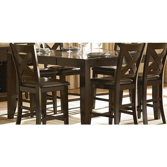 Crown Point Classic Rectangular Wood/Wood Veneer Extendable Counter Dining Table photo