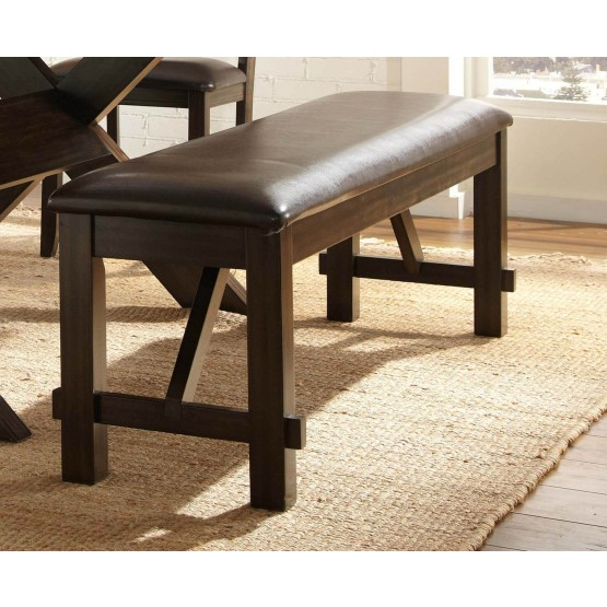 Roy Transitional Vinyl/Wood Dining Bench photo
