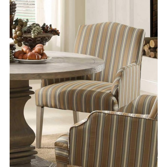 Euro Rustic Fabric/Wood Dining Arm Chair photo