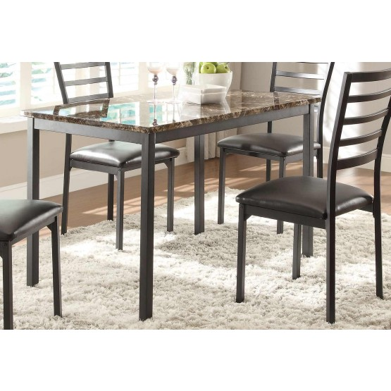 Flannery Rectangular Faux Marbl/Metal Dining Table photo