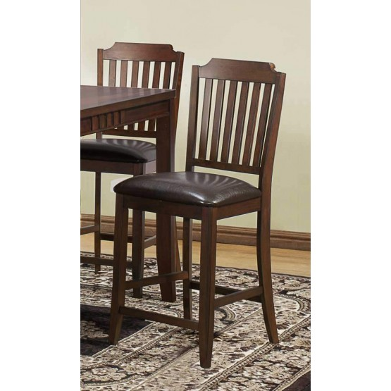 Dickens Transitional Vinyl/Wood Counter Dining Chair photo