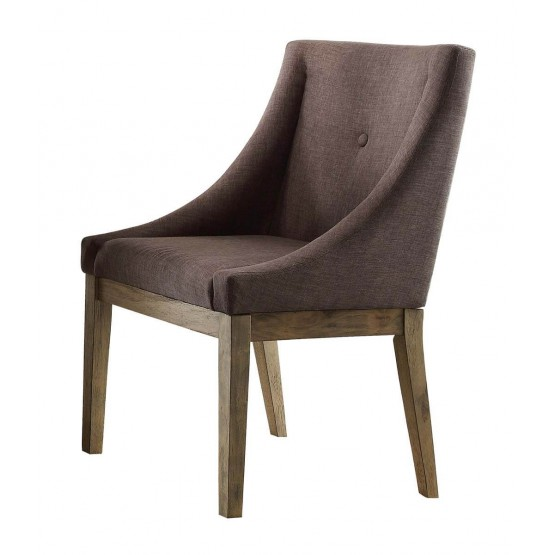 Anna Claire Transitional Fabric/Wood Curved Dining Chair photo