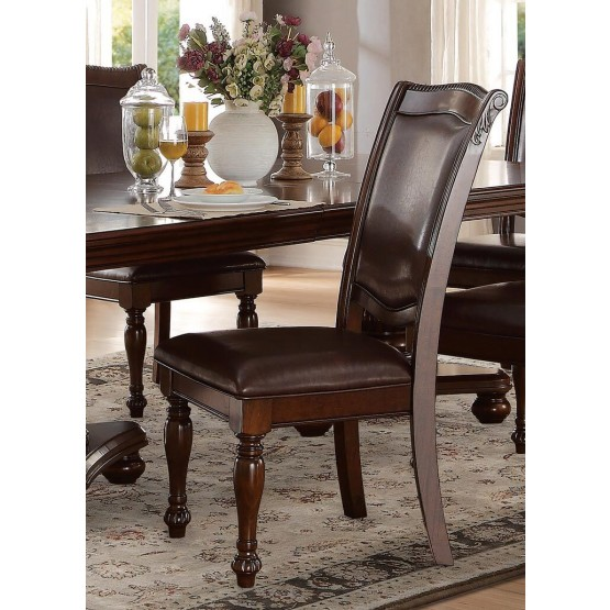 Lordsburg Classic Faux Leather/Wood Dining Chair photo