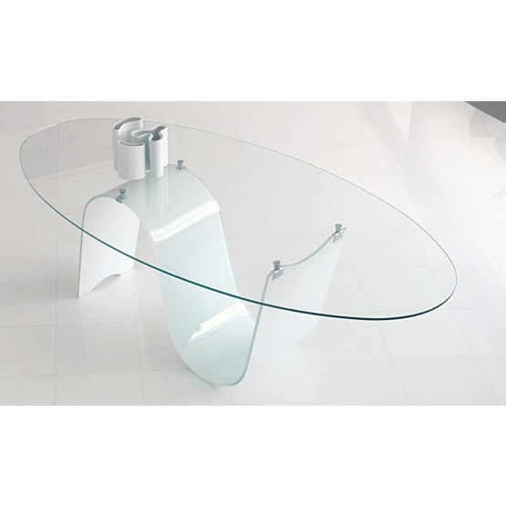 Modern Infinity Fixed Oval Dining Table  photo