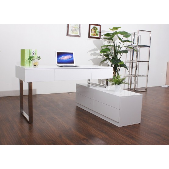 KD12 Modern Lacquer Office Desk with Storage Drawers photo
