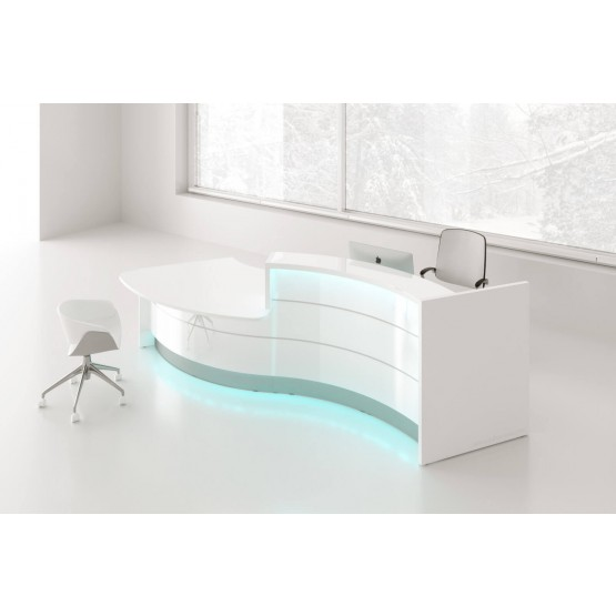 VALDE Left Countertop Curved Reception Desk, High Gloss White photo