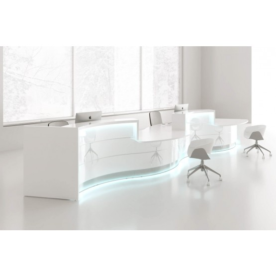 VALDE Right 2 Countertops Curved Large Reception Desk, High Gloss White photo