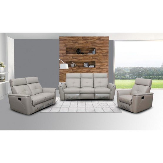 8501 Leather/Eco-Leather Living Room Set w/Recliner photo