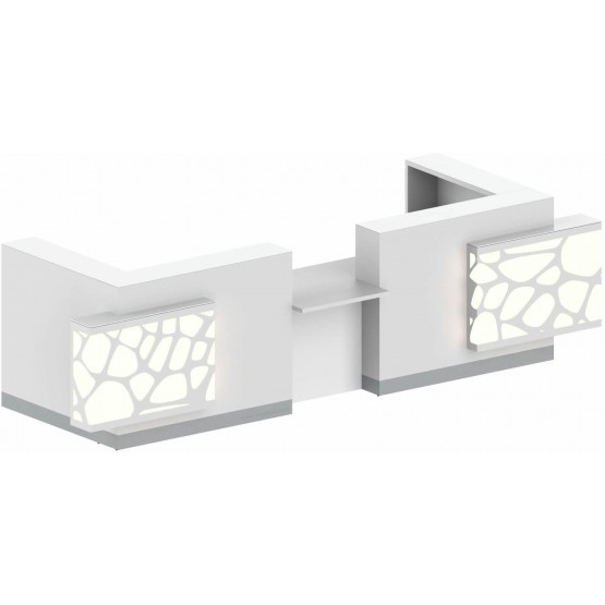 ORGANIC 2-Person U-Shaped Reception Desk w/Middle Counter Top & RGB Light, ADA Compilance photo