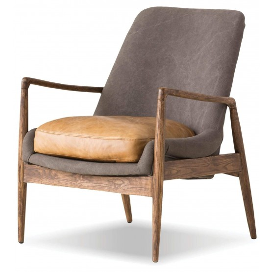 Reynolds Fabric Chair with Leather Seat photo