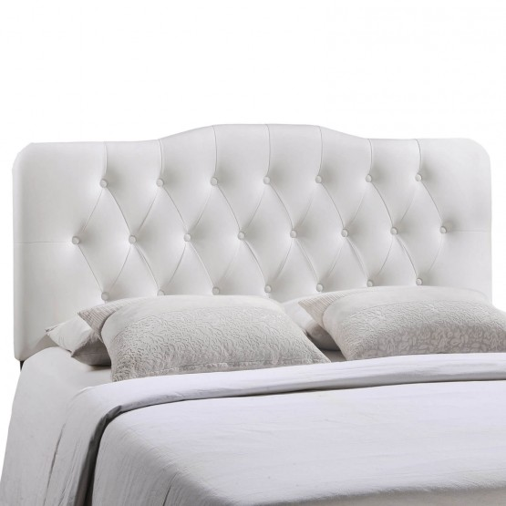 Annabel Queen Vinyl Headboard, White photo
