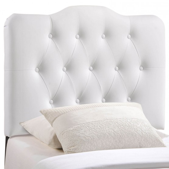 Annabel Twin Vinyl Headboard, White photo