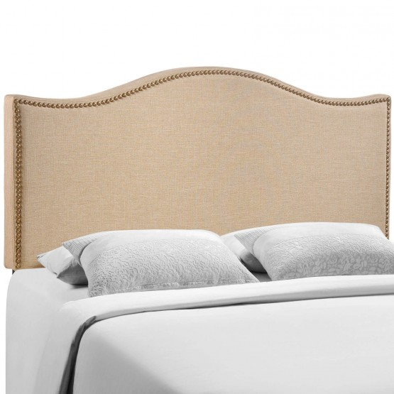 Curl Queen Nailhead Upholstered Headboard, Cafe photo