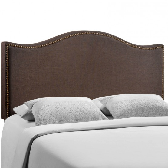 Curl Queen Nailhead Upholstered Headboard, Dark Brown photo