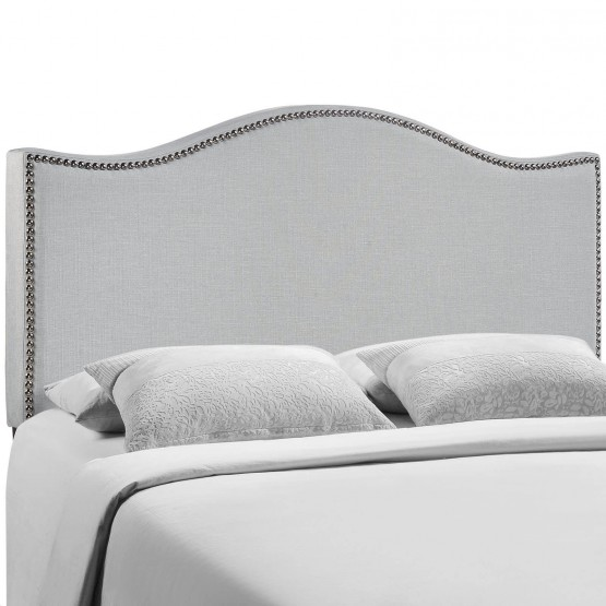 Curl Queen Nailhead Upholstered Headboard, Gray photo