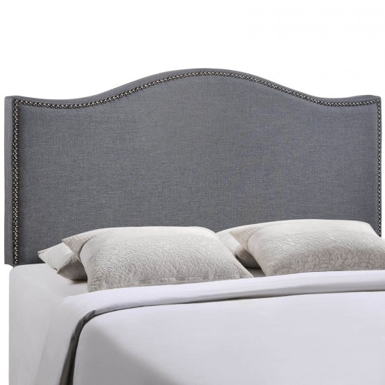 Curl Queen Nailhead Upholstered Headboard, Smoke photo