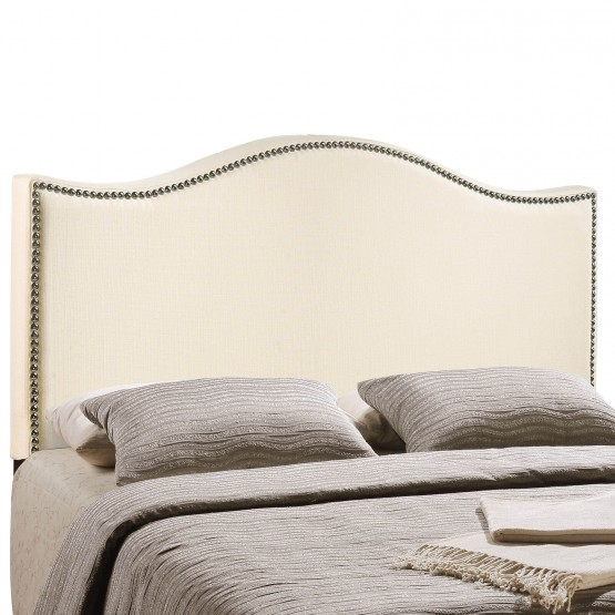 Curl King Nailhead Upholstered Headboard, Ivory photo