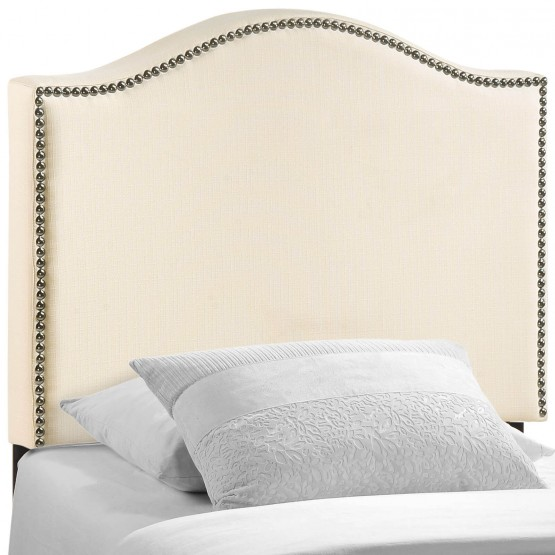 Curl Twin Nailhead Upholstered Headboard, Ivory photo