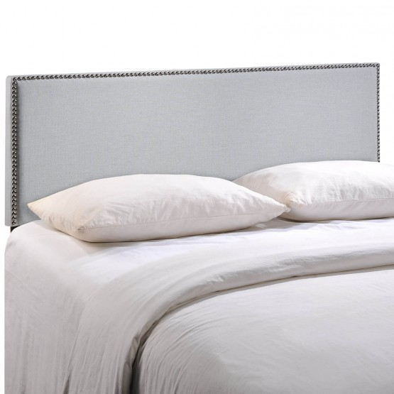 Region King Nailhead Upholstered Headboard, Gray photo