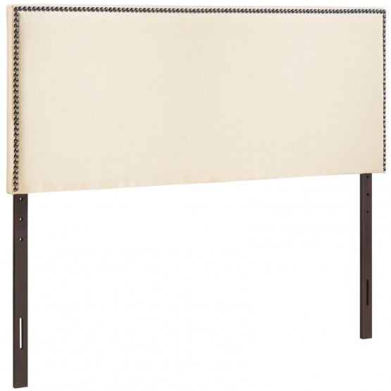 Region Full Nailhead Upholstered Headboard, Ivory photo