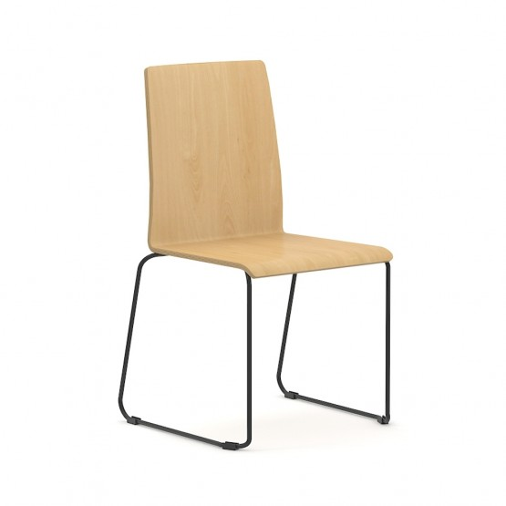 Moon Conference Wood Chair, Wire Steel Frame photo