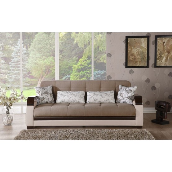 Natural Fabric/PU Storage Sleeper Sofabed w/Wooden Armrests photo