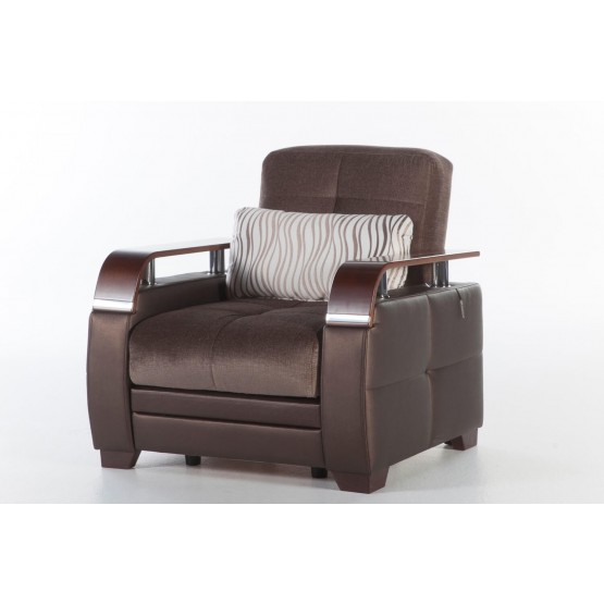 Natural Fabric/PU Storage Sleeper Armchair w/Wooden Armrests photo
