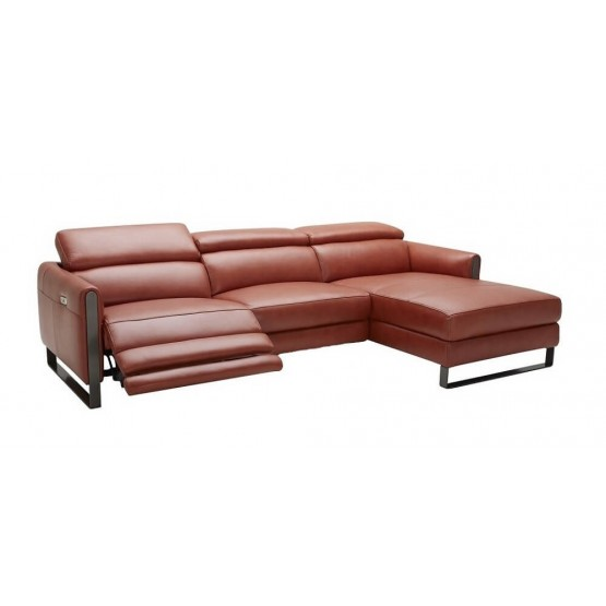Vella Premium Leather Reclining Sectional photo