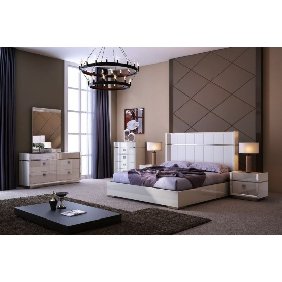 The Paris Modern Genuine Leather Panel Bedroom Set photo