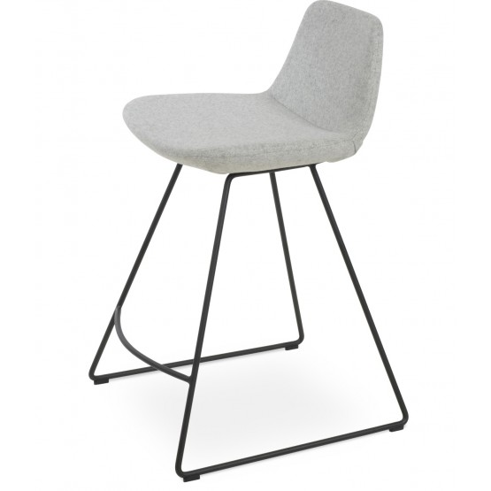 Pera Wire Wool Handle Back Counter Stool w/Metal Base photo