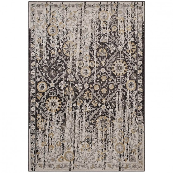 Ganesa Distressed Diamond Floral Lattice Rug photo
