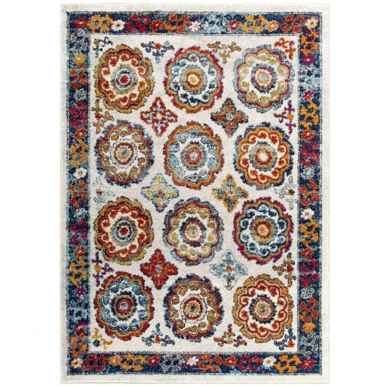 Entourage Odile Distressed Floral Moroccan Trellis Rug photo