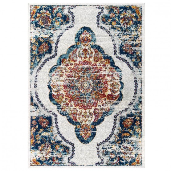 Entourage Malia Distressed Vintage Floral Persian Medallion Rug photo