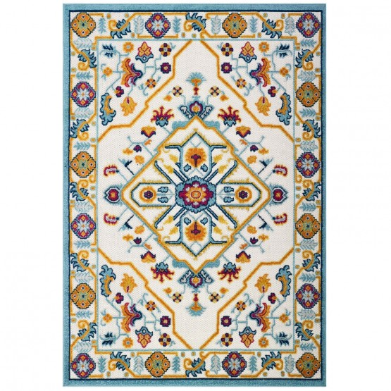 Reflect Freesia Distressed Floral Persian Medallion Indoor/Outdoor Area Rug photo