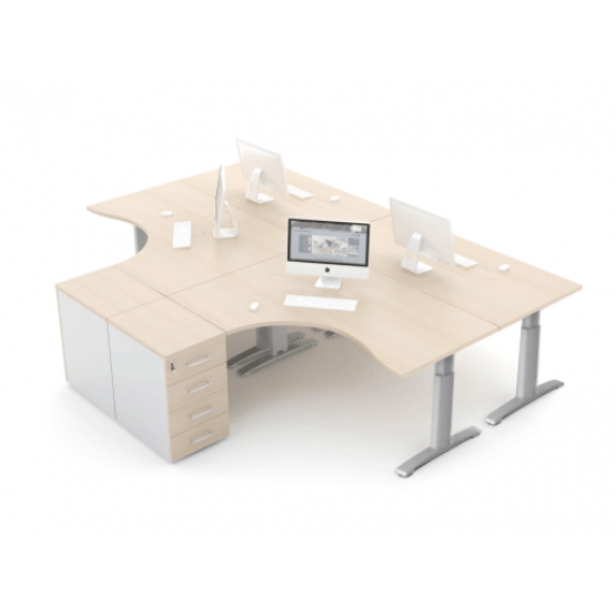ERGONOMIC MASTER Radial Office Desk w/Manual Height Adjustment photo