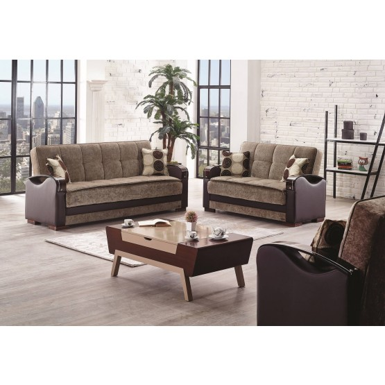 Rochester Fabric/Wood Storage Living Room Set photo