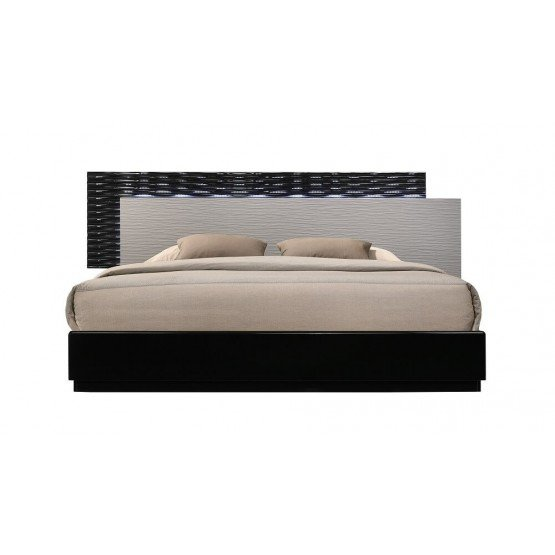 Roma Modern Lacquer LED Platform Bed photo