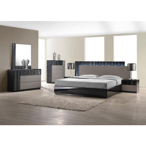 Roma Modern Lacquer LED Platform Bedroom Set photo