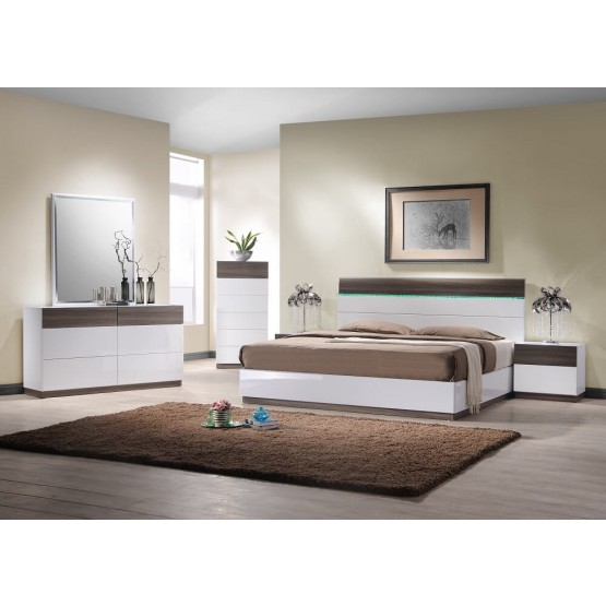 The Sanremo B Wood Led Panel Bedroom Set Walnut Veneer White By